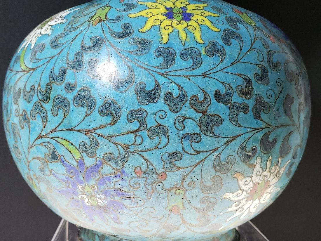 Chinese enamel cloisonne gourd vase with mark - 10