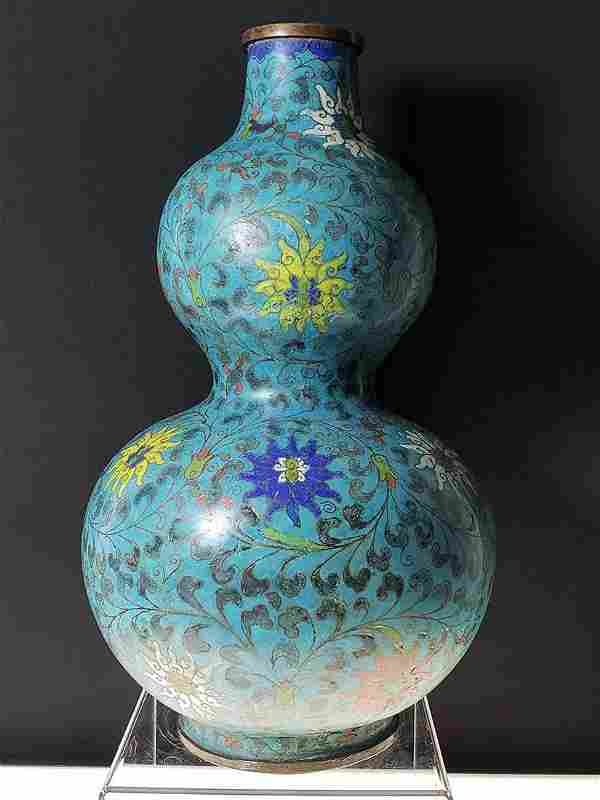 Chinese enamel cloisonne gourd vase with mark