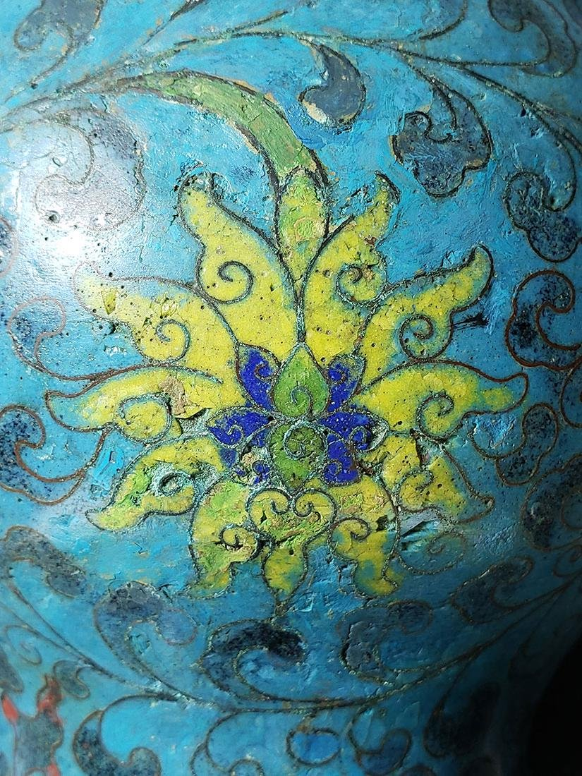 Chinese enamel cloisonne gourd vase with mark - 6