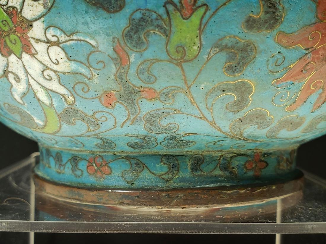 Chinese enamel cloisonne gourd vase with mark - 7