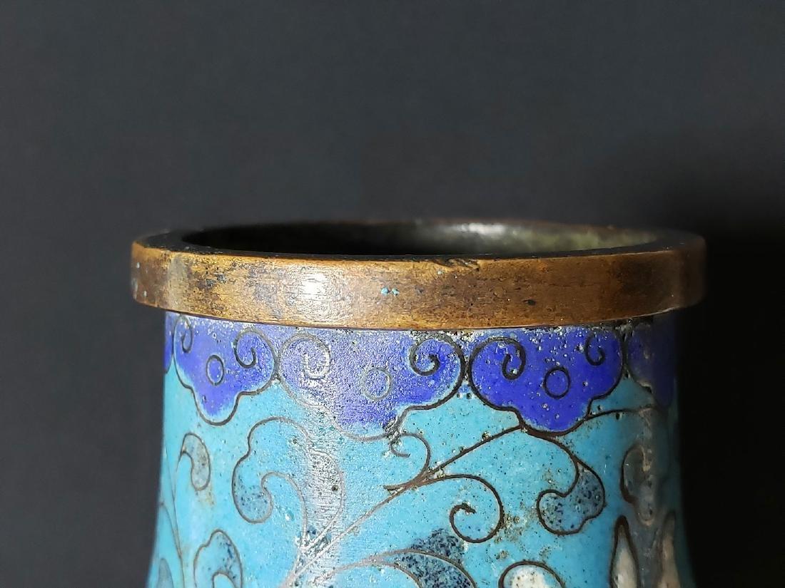 Chinese enamel cloisonne gourd vase with mark - 8