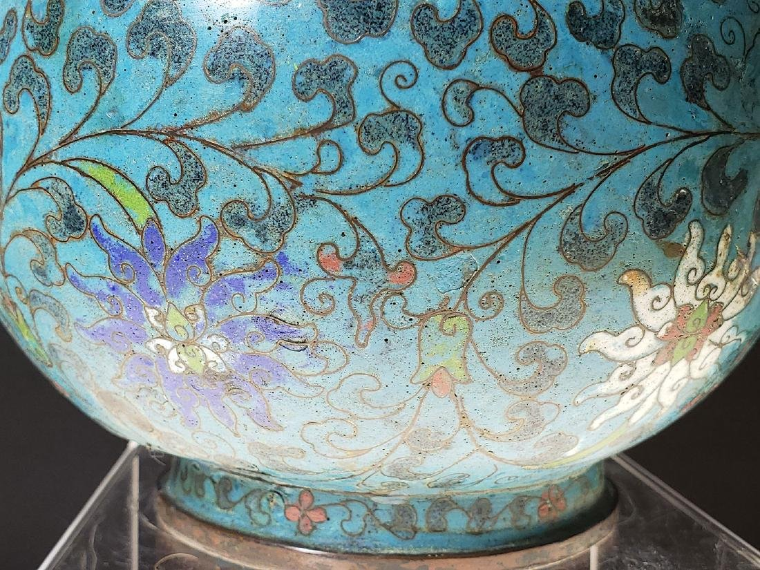 Chinese enamel cloisonne gourd vase with mark - 9