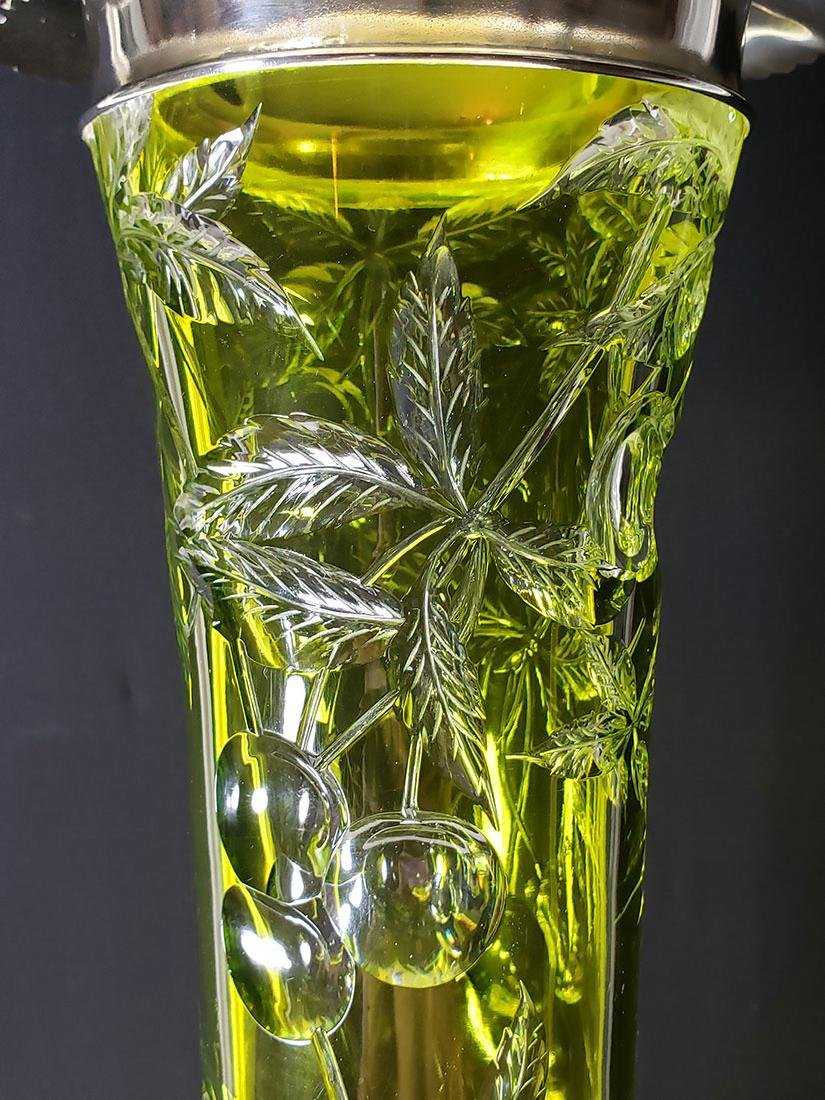 American Brilliant Period Baccarat green to clear vase - 6