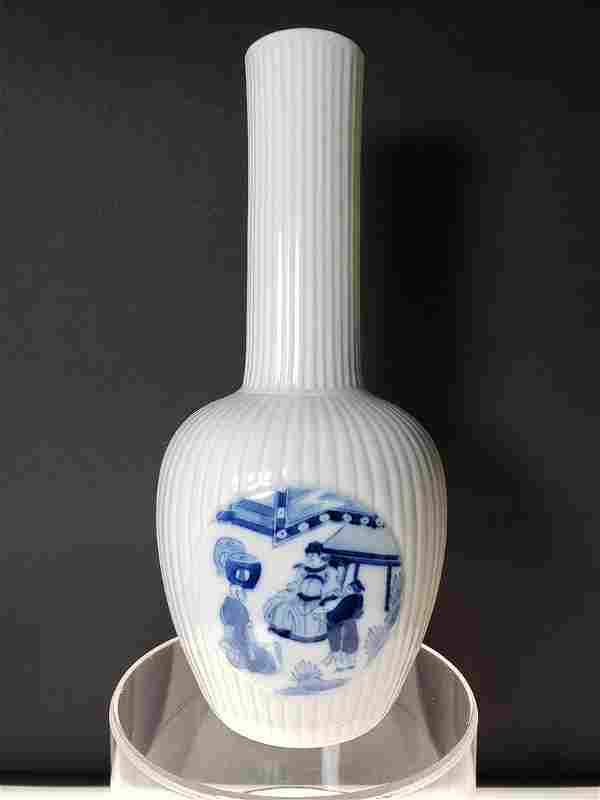 A very fine Chinese blue and white glazed vase 19th C