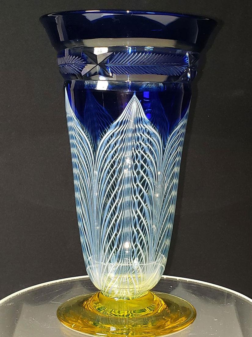 A fine Durand pulled feather parfait art glass #1