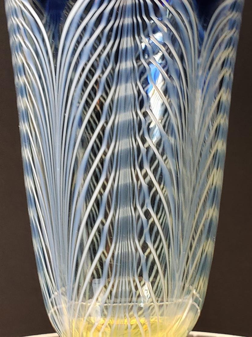 A fine Durand pulled feather parfait art glass #1 - 3