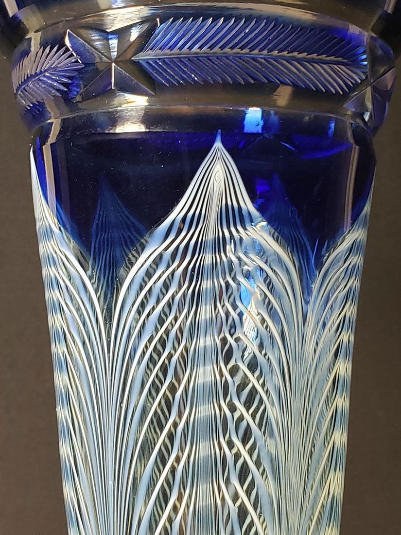 A fine Durand pulled feather parfait art glass #1 - 4