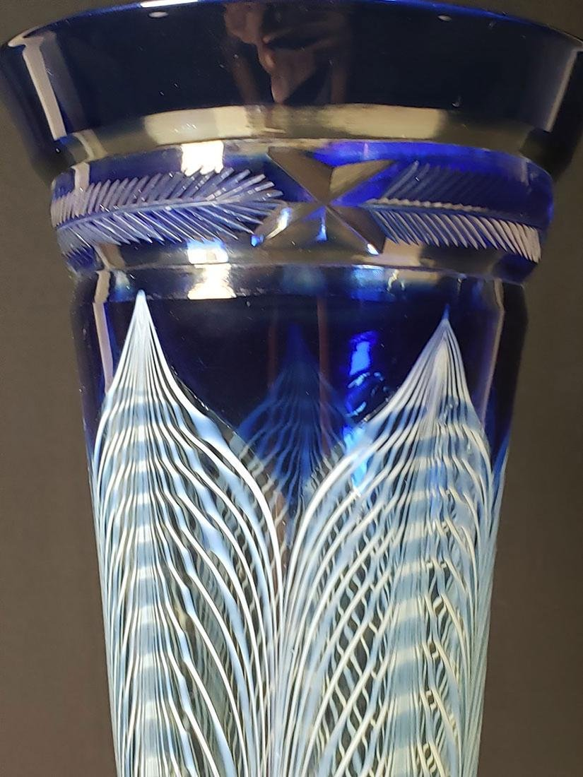 A fine Durand pulled feather parfait art glass #1 - 7