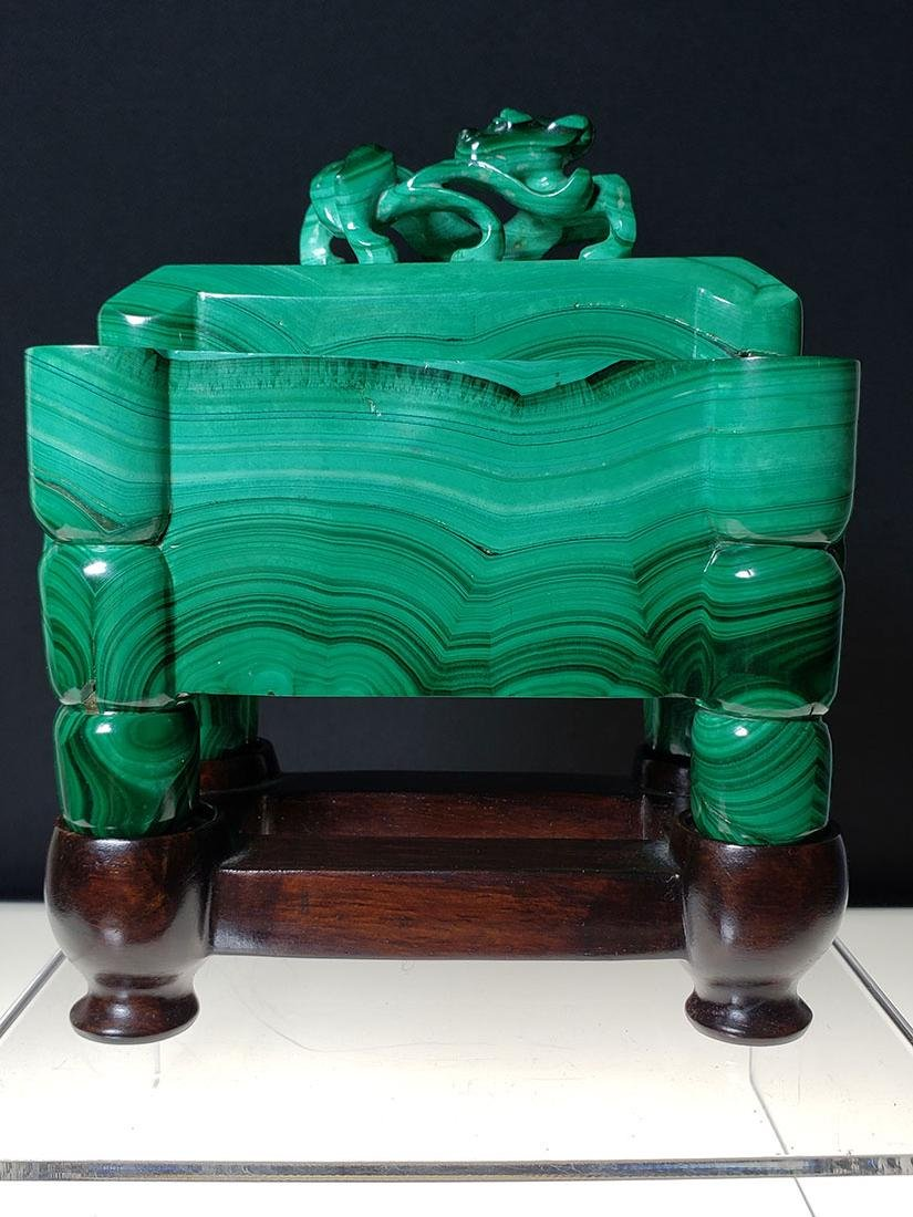 Finest Chinese koro / censer carved malachite on stand