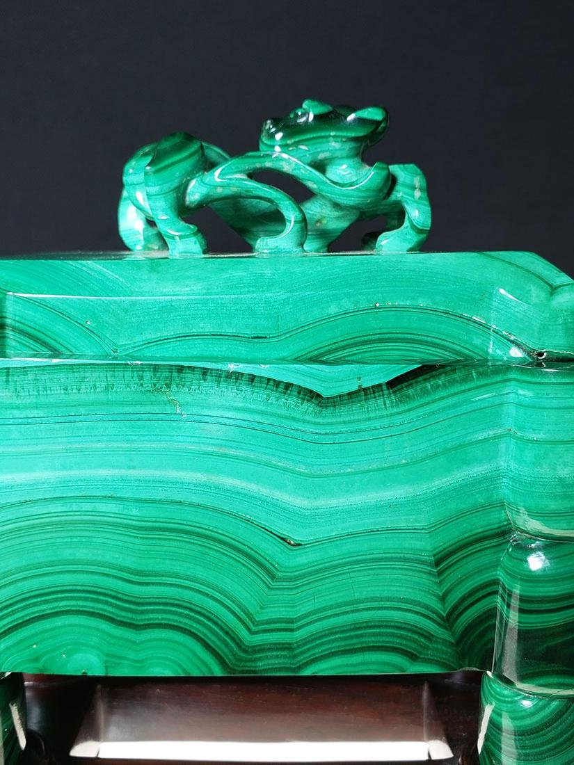 Finest Chinese koro / censer carved malachite on stand - 2