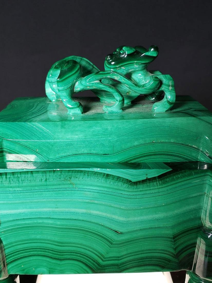 Finest Chinese koro / censer carved malachite on stand - 3