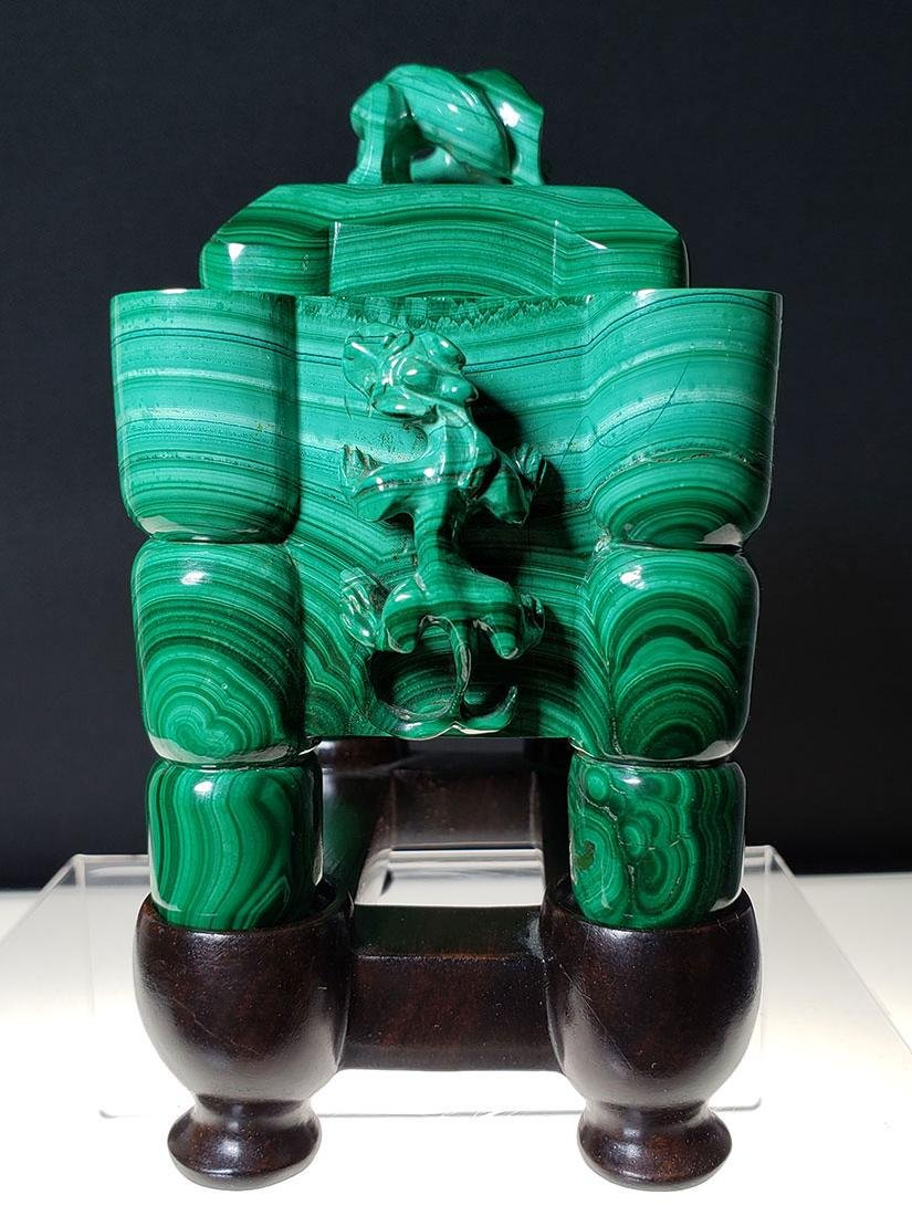 Finest Chinese koro / censer carved malachite on stand - 5