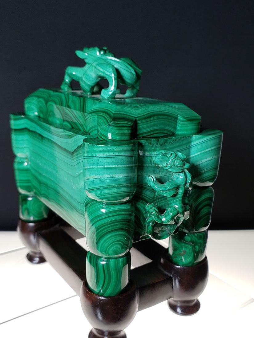 Finest Chinese koro / censer carved malachite on stand - 6