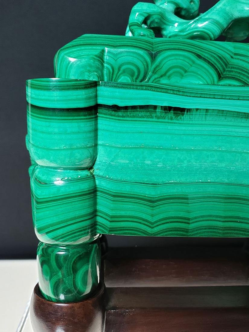 Finest Chinese koro / censer carved malachite on stand - 8