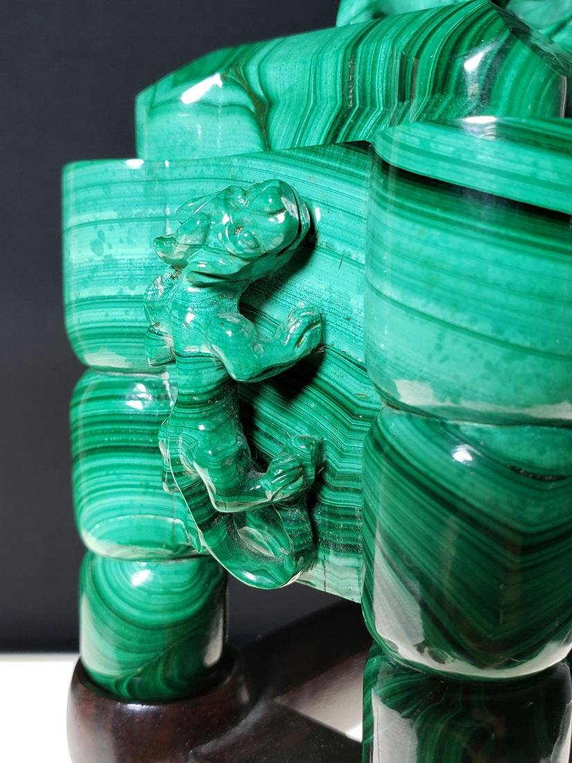 Finest Chinese koro / censer carved malachite on stand - 9