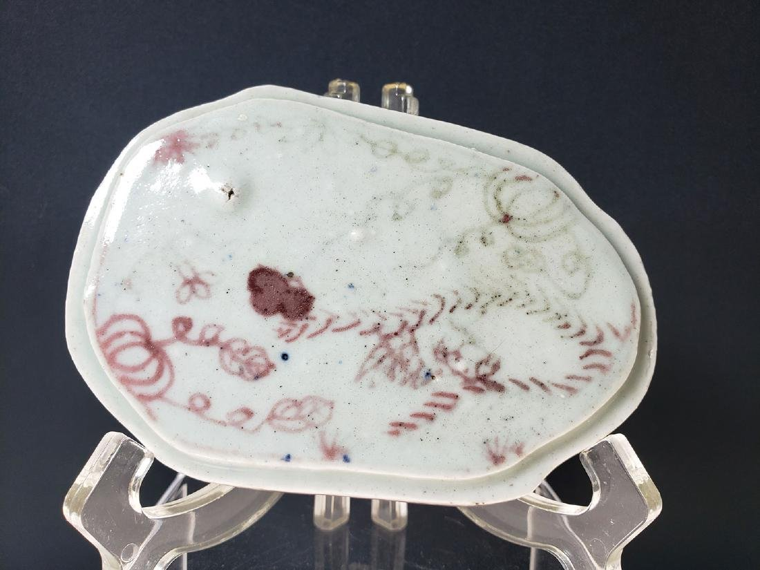 Chinese porcelain iron oxide ink stone box Ming Pd