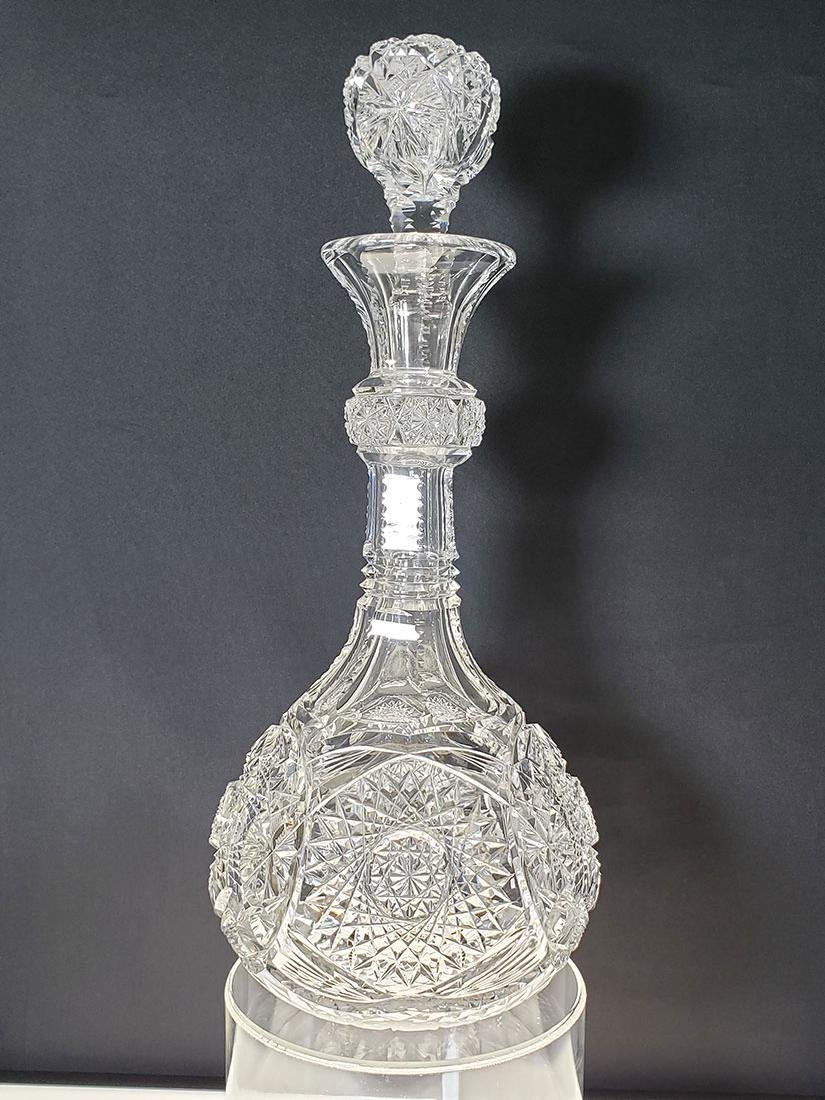 Giant American Brilliant Pd cut glass decanter ?Bergen