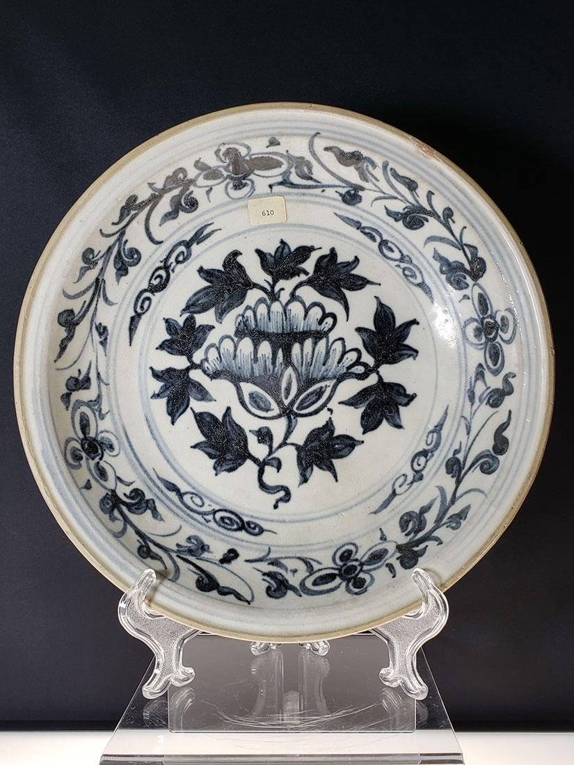 Antique Chinese blue and white bowl heavy glazed