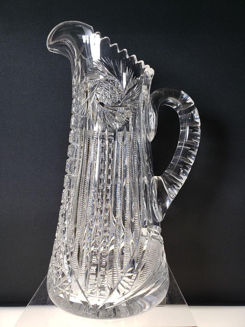 American Brilliant Period Clarke cut glass pitcher