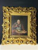 Antique O/C portrait painting of a monk 19th c