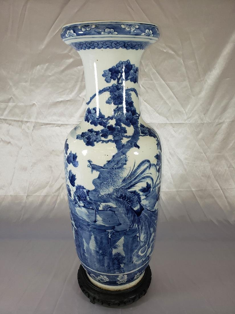 Lg fine Chinese blue and white vase with birds 19th c