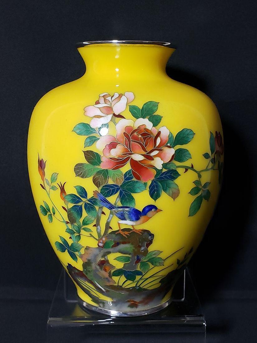 A fine Japanese cloisonne enamel vase with birds