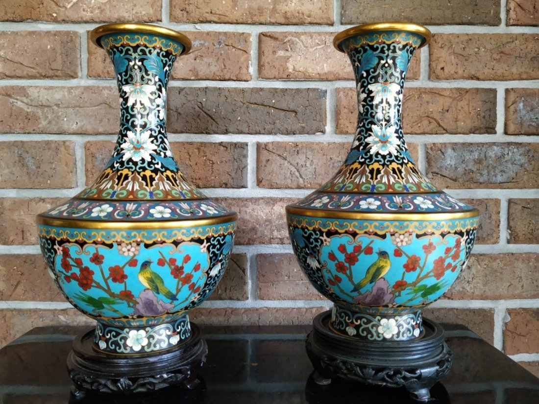 """Pr of Chinese cloisonne vases 20th C. Measures 10.5"""" Ta"""