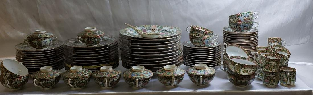 Lot of 121 pcs of Chinese famille rose dishes