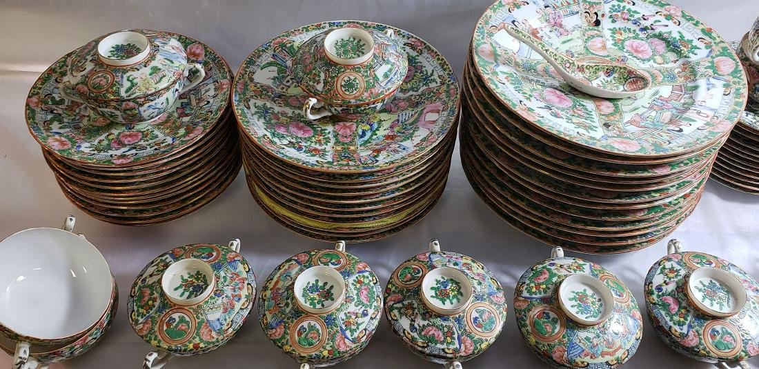 Lot of 121 pcs of Chinese famille rose dishes - 2