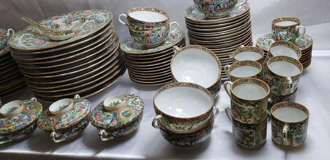 Lot of 121 pcs of Chinese famille rose dishes - 4