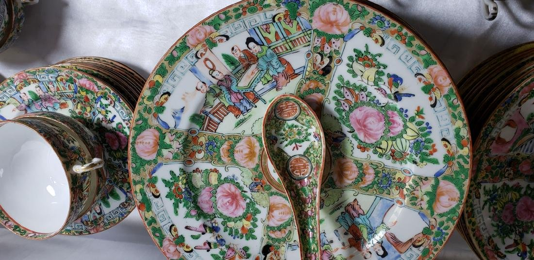 Lot of 121 pcs of Chinese famille rose dishes - 7