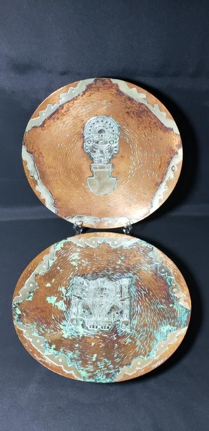 Pair of  Peruvian Silver Overlay on Copper Plates
