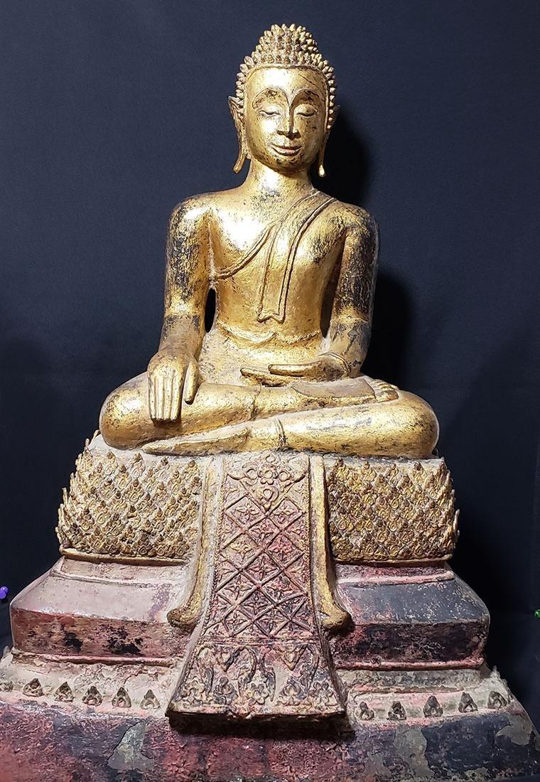 Lg Antique Gilt Bronze Polychrome Temple Buddha 19 C