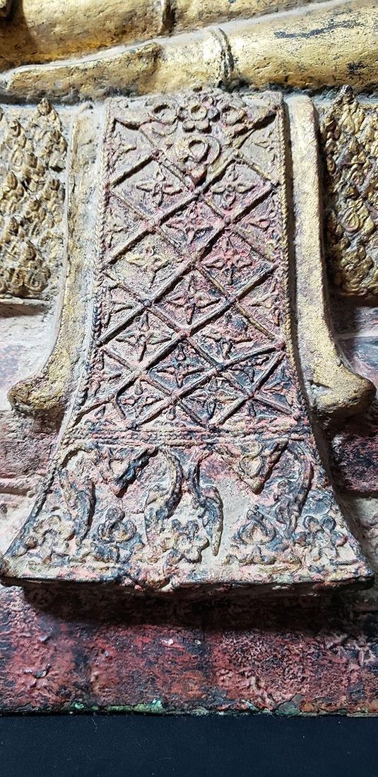 Lg Antique Gilt Bronze Polychrome Temple Buddha 19 C - 2