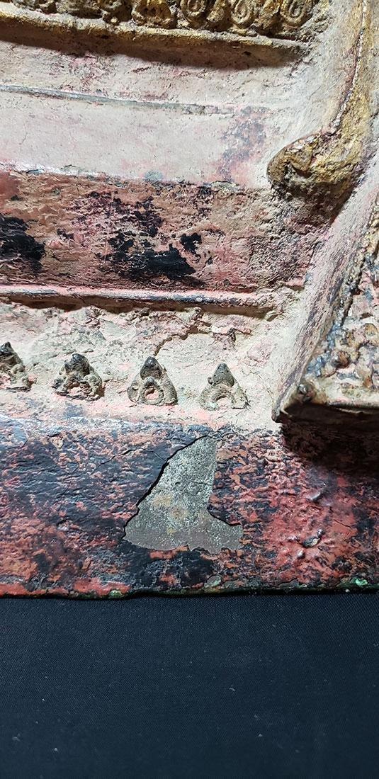 Lg Antique Gilt Bronze Polychrome Temple Buddha 19 C - 3