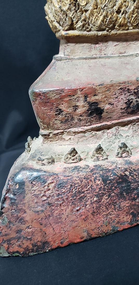 Lg Antique Gilt Bronze Polychrome Temple Buddha 19 C - 4