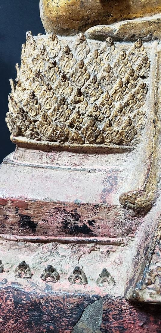 Lg Antique Gilt Bronze Polychrome Temple Buddha 19 C - 5