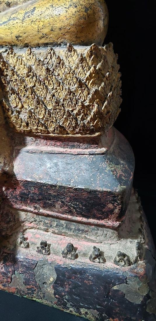 Lg Antique Gilt Bronze Polychrome Temple Buddha 19 C - 7