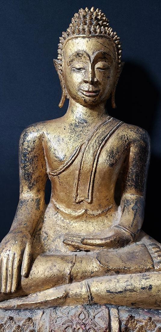 Lg Antique Gilt Bronze Polychrome Temple Buddha 19 C - 8