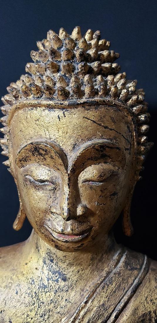 Lg Antique Gilt Bronze Polychrome Temple Buddha 19 C - 9