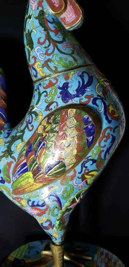 A fine Large Chinese Cloisonne Enamel Rooster - 2