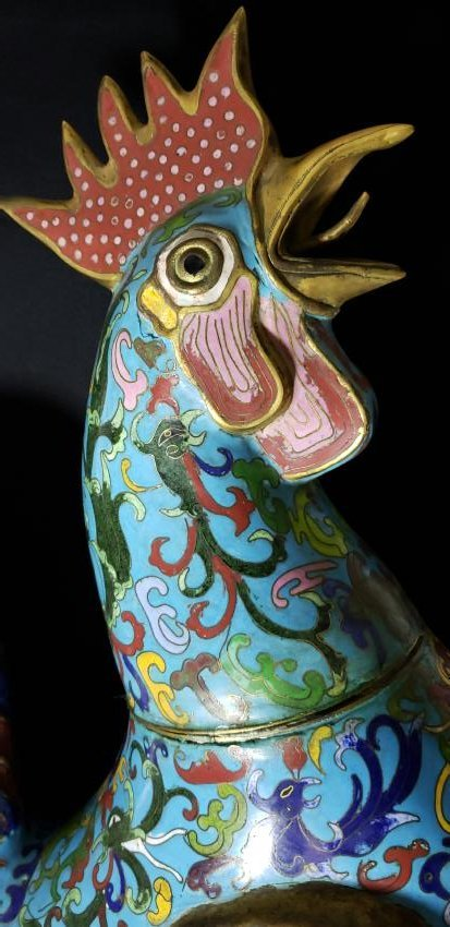 A fine Large Chinese Cloisonne Enamel Rooster - 3