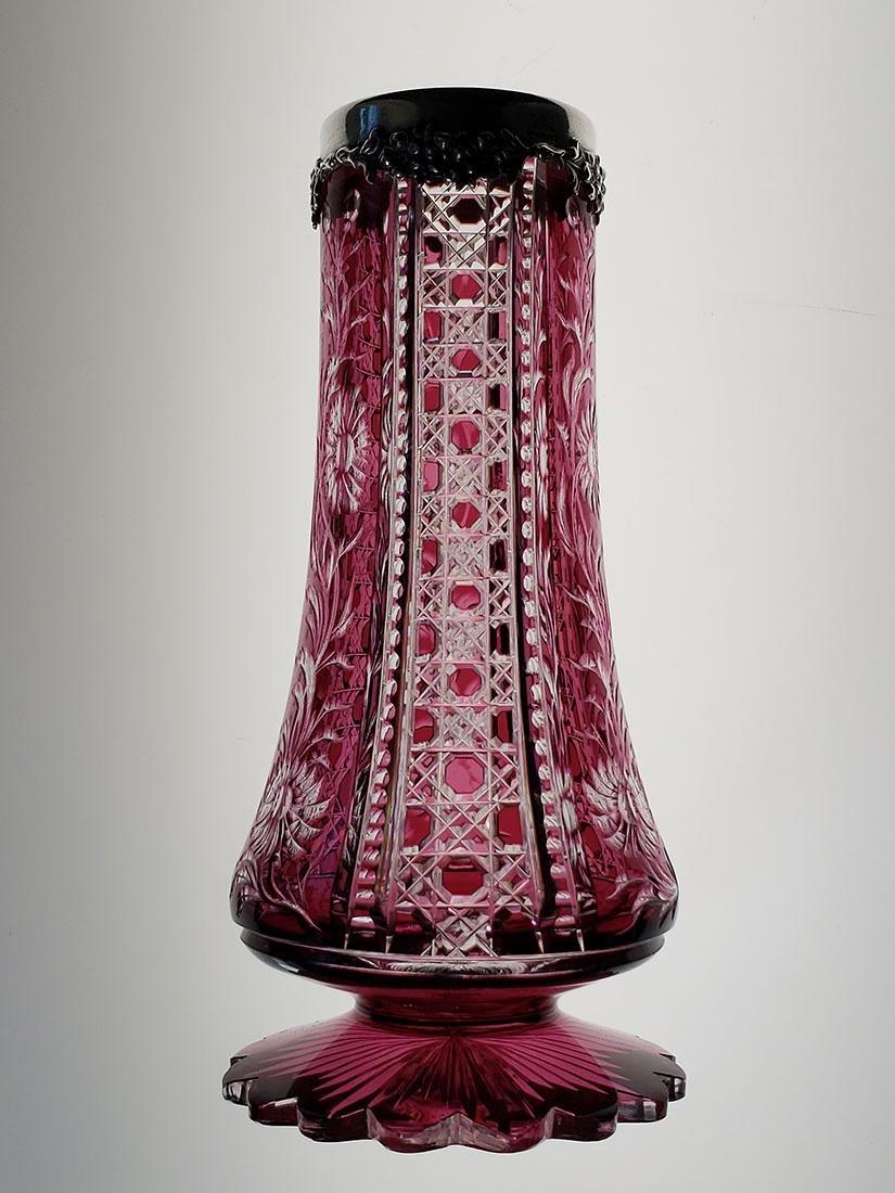 American Brilliant Period amethyst cut to clear vase