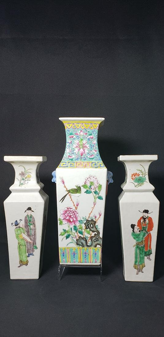 Lot 3 Chinese Famille Rose Vases Marked