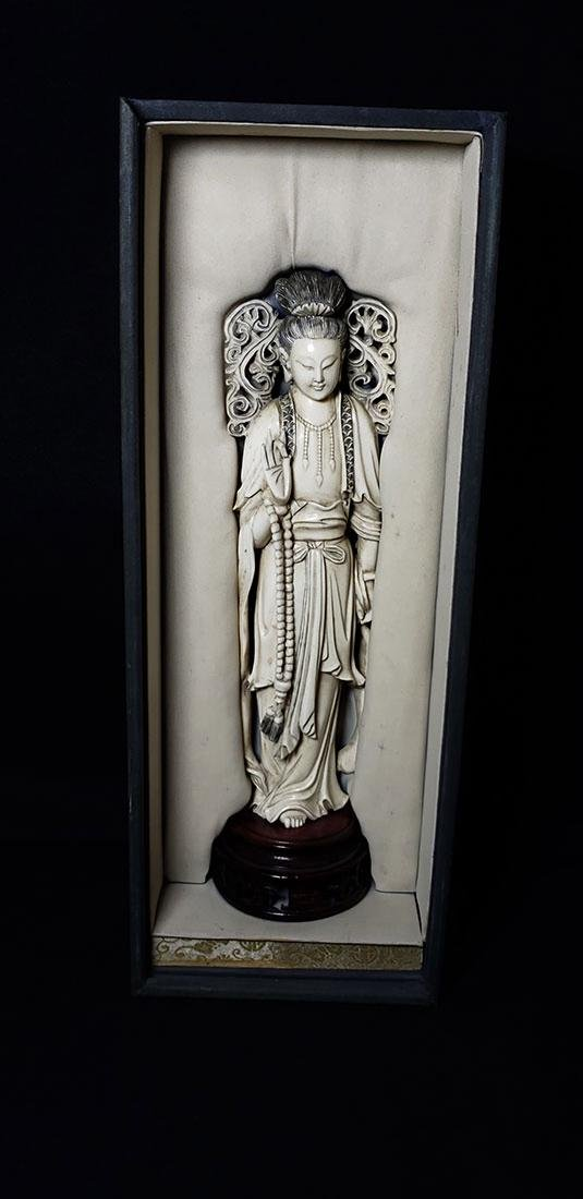 Lg Chinese Carved Kwan Yin Figure in Box 19 c