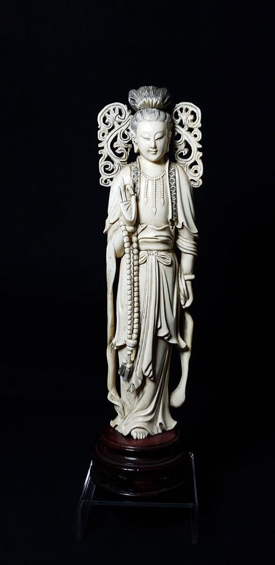 Lg Chinese Carved Kwan Yin Figure in Box 19 c - 2