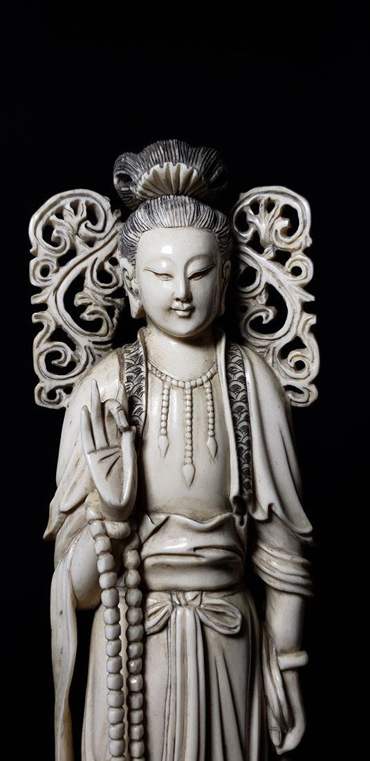 Lg Chinese Carved Kwan Yin Figure in Box 19 c - 3