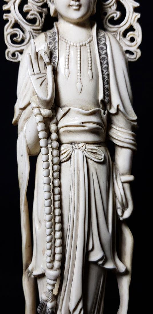 Lg Chinese Carved Kwan Yin Figure in Box 19 c - 4