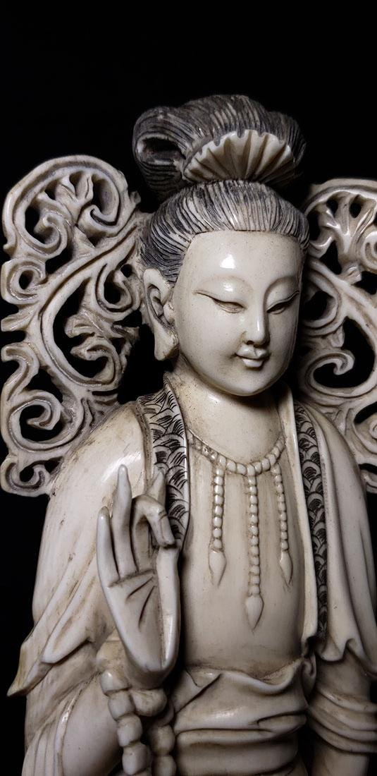 Lg Chinese Carved Kwan Yin Figure in Box 19 c - 7