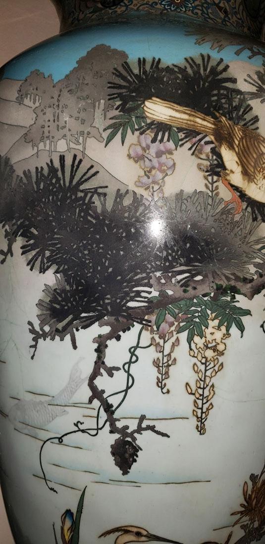 Lg Museum Quality Cloisonne Vase 19 C Meiji Pd - 10